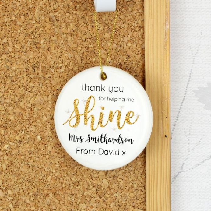 Shine Teacher Round Ceramic Decoration